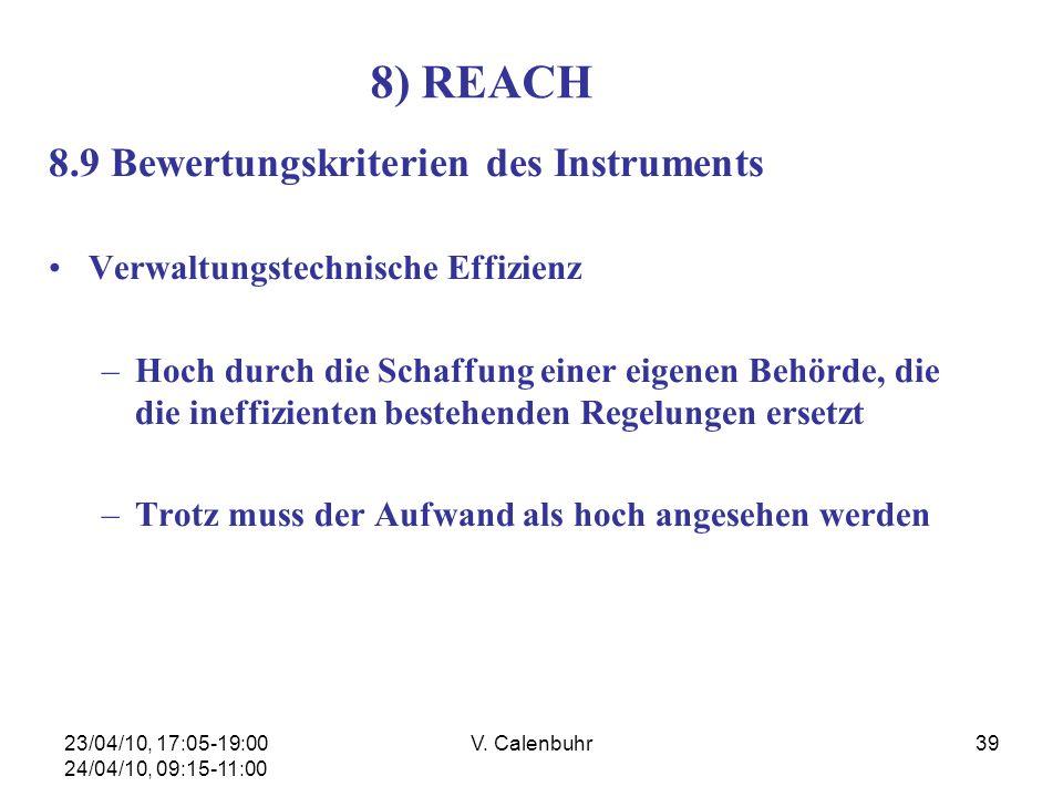 23/04/10, 17:05-19:00 24/04/10, 09:15-11:00 V. Calenbuhr39 8) REACH 8.9 Bewertungskriterien des Instruments Verwaltungstechnische Effizienz –Hoch durc
