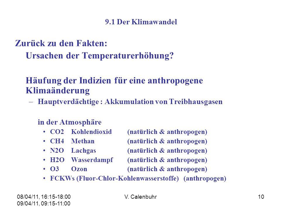 08/04/11, 16:15-18:00 09/04/11, 09:15-11:00 V. Calenbuhr10 9.1 Der Klimawandel Zurück zu den Fakten: Ursachen der Temperaturerhöhung? Häufung der Indi