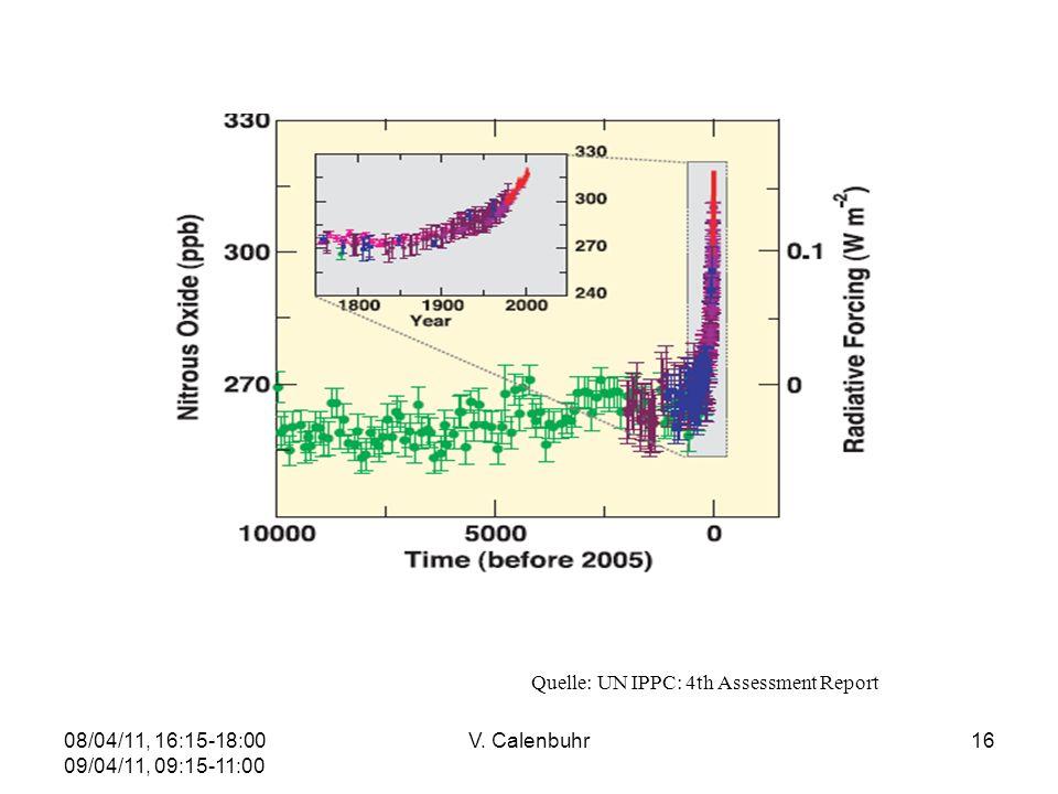 08/04/11, 16:15-18:00 09/04/11, 09:15-11:00 V. Calenbuhr16 Quelle: UN IPPC: 4th Assessment Report