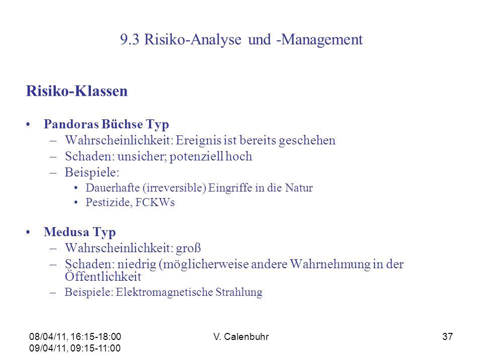 08/04/11, 16:15-18:00 09/04/11, 09:15-11:00 V. Calenbuhr37 9.3 Risiko-Analyse und -Management Risiko-Klassen Pandoras Büchse Typ –Wahrscheinlichkeit: