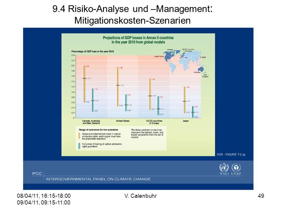 08/04/11, 16:15-18:00 09/04/11, 09:15-11:00 V. Calenbuhr49 9.4 Risiko-Analyse und –Management : Mitigationskosten-Szenarien