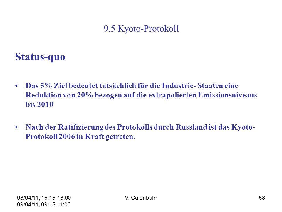 08/04/11, 16:15-18:00 09/04/11, 09:15-11:00 V. Calenbuhr58 9.5 Kyoto-Protokoll Status-quo Das 5% Ziel bedeutet tatsächlich für die Industrie- Staaten