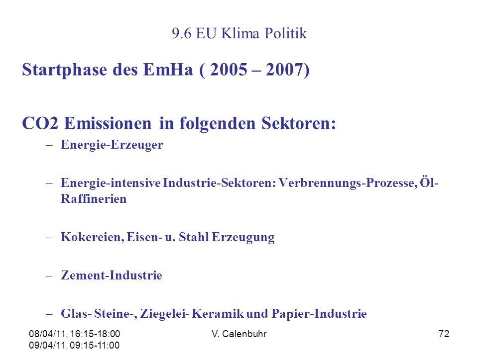 08/04/11, 16:15-18:00 09/04/11, 09:15-11:00 V. Calenbuhr72 9.6 EU Klima Politik Startphase des EmHa ( 2005 – 2007) CO2 Emissionen in folgenden Sektore