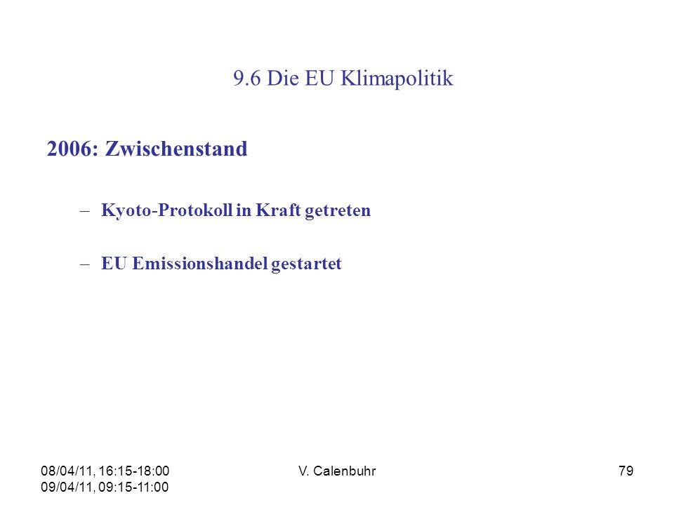 08/04/11, 16:15-18:00 09/04/11, 09:15-11:00 V. Calenbuhr79 9.6 Die EU Klimapolitik 2006: Zwischenstand –Kyoto-Protokoll in Kraft getreten –EU Emission