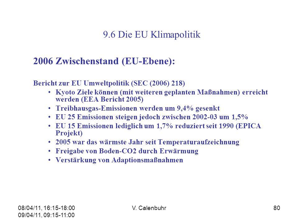 08/04/11, 16:15-18:00 09/04/11, 09:15-11:00 V. Calenbuhr80 9.6 Die EU Klimapolitik 2006 Zwischenstand (EU-Ebene): Bericht zur EU Umweltpolitik (SEC (2