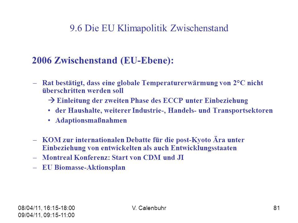 08/04/11, 16:15-18:00 09/04/11, 09:15-11:00 V. Calenbuhr81 9.6 Die EU Klimapolitik Zwischenstand 2006 Zwischenstand (EU-Ebene): –Rat bestätigt, dass e