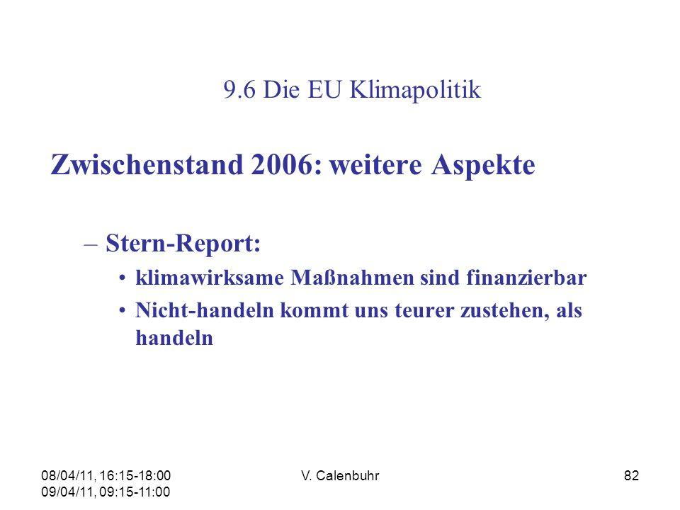 08/04/11, 16:15-18:00 09/04/11, 09:15-11:00 V. Calenbuhr82 Zwischenstand 2006: weitere Aspekte –Stern-Report: klimawirksame Maßnahmen sind finanzierba