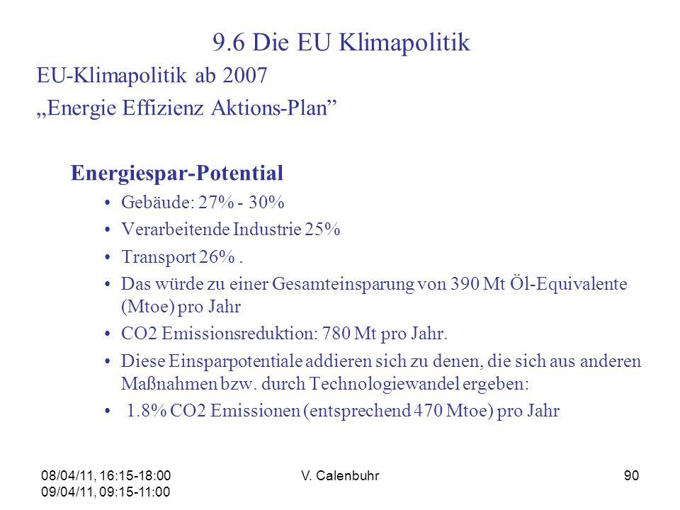 08/04/11, 16:15-18:00 09/04/11, 09:15-11:00 V. Calenbuhr90 EU-Klimapolitik ab 2007 Energie Effizienz Aktions-Plan Energiespar-Potential Gebäude: 27% -