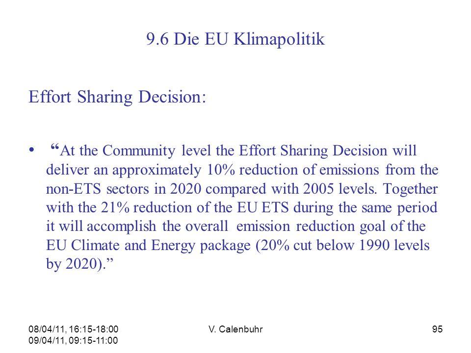 08/04/11, 16:15-18:00 09/04/11, 09:15-11:00 V. Calenbuhr95 9.6 Die EU Klimapolitik Effort Sharing Decision: At the Community level the Effort Sharing