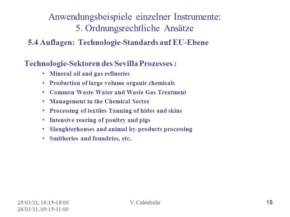 25/03/11, 16:15-18:00 26/03/11, 09:15-11:00 V. Calenbuhr 15 Anwendungsbeispiele einzelner Instrumente: 5. Ordnungsrechtliche Ansätze 5.4 Auflagen: Tec