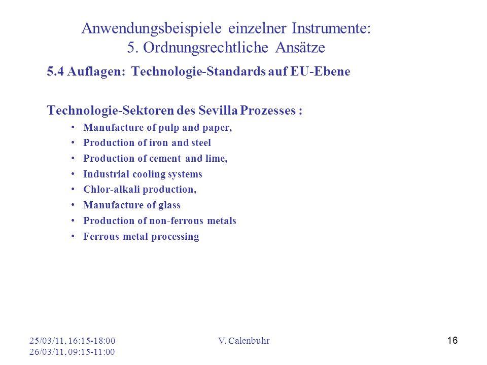 25/03/11, 16:15-18:00 26/03/11, 09:15-11:00 V. Calenbuhr 16 Anwendungsbeispiele einzelner Instrumente: 5. Ordnungsrechtliche Ansätze 5.4 Auflagen: Tec