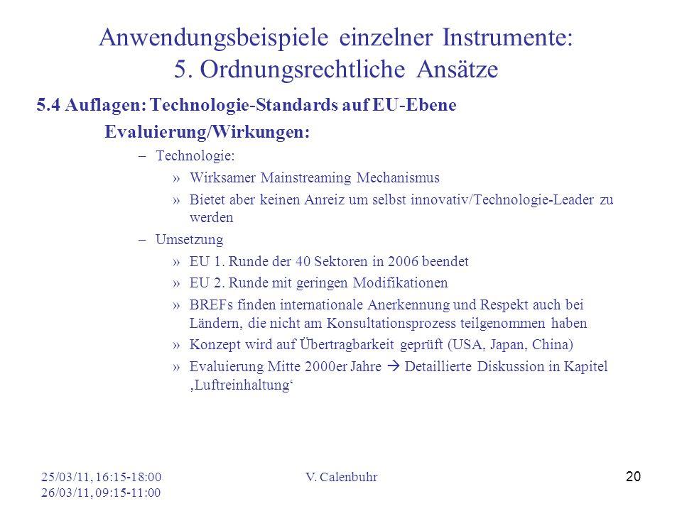 25/03/11, 16:15-18:00 26/03/11, 09:15-11:00 V. Calenbuhr 20 Anwendungsbeispiele einzelner Instrumente: 5. Ordnungsrechtliche Ansätze 5.4 Auflagen: Tec