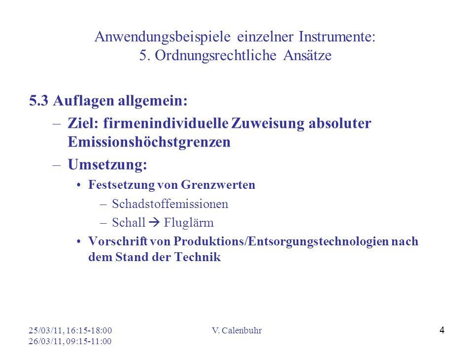 25/03/11, 16:15-18:00 26/03/11, 09:15-11:00 V. Calenbuhr 4 Anwendungsbeispiele einzelner Instrumente: 5. Ordnungsrechtliche Ansätze 5.3 Auflagen allge