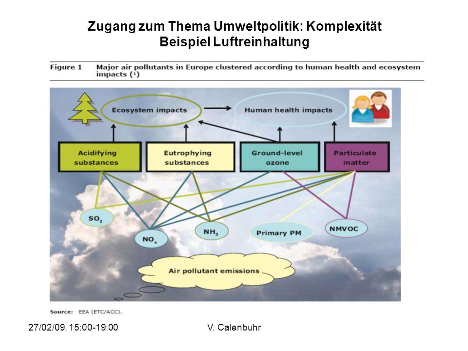 27/02/09, 15:00-19:00V. Calenbuhr Zugang zum Thema Umweltpolitik: Komplexität Beispiel Luftreinhaltung