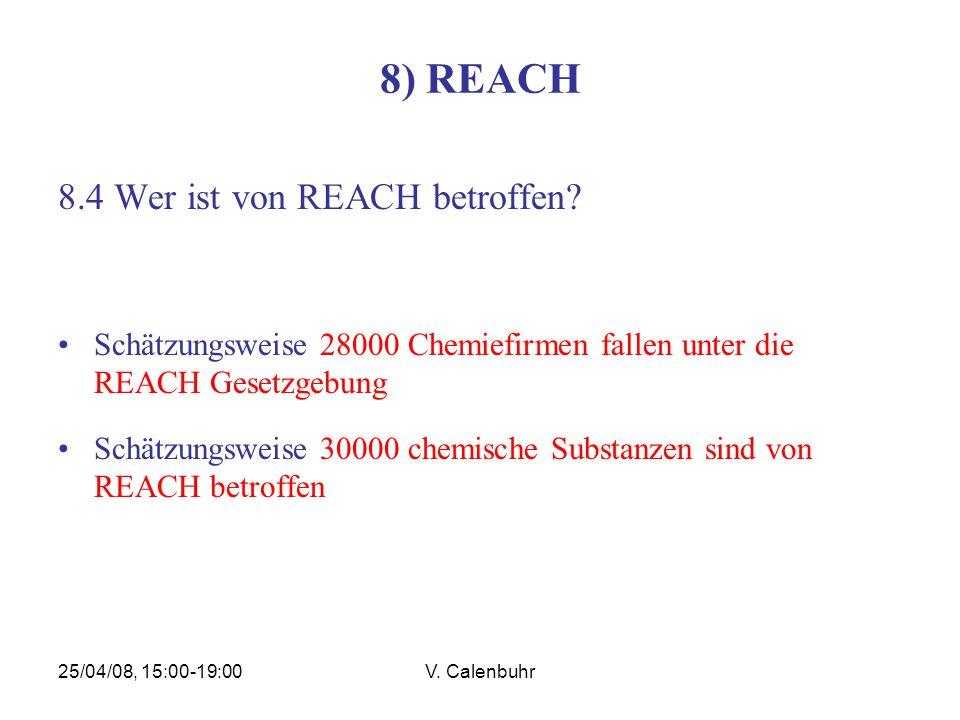 25/04/08, 15:00-19:00V. Calenbuhr 8) REACH 8.4 Wer ist von REACH betroffen? Schätzungsweise 28000 Chemiefirmen fallen unter die REACH Gesetzgebung Sch