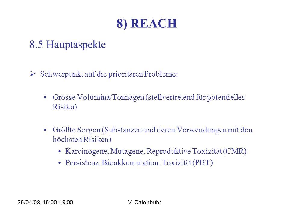 25/04/08, 15:00-19:00V. Calenbuhr 8) REACH 8.5 Hauptaspekte Schwerpunkt auf die prioritären Probleme: Grosse Volumina/Tonnagen (stellvertretend für po