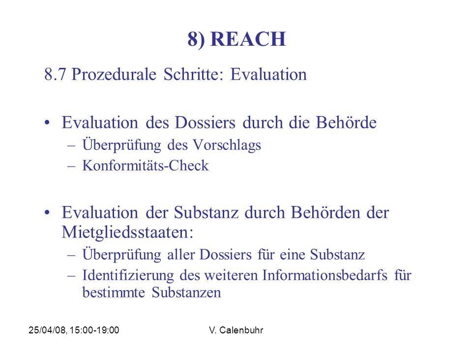 25/04/08, 15:00-19:00V. Calenbuhr 8) REACH 8.7 Prozedurale Schritte: Evaluation Evaluation des Dossiers durch die Behörde –Überprüfung des Vorschlags
