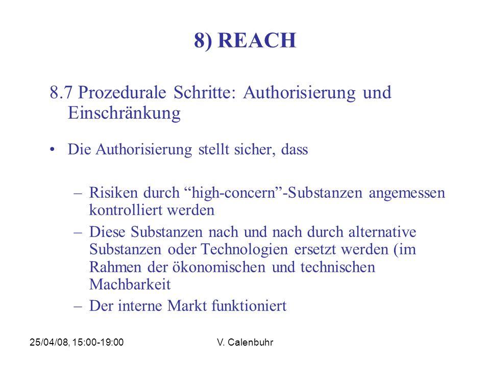 25/04/08, 15:00-19:00V. Calenbuhr 8) REACH 8.7 Prozedurale Schritte: Authorisierung und Einschränkung Die Authorisierung stellt sicher, dass –Risiken