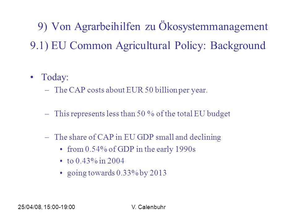 25/04/08, 15:00-19:00V. Calenbuhr 9) Von Agrarbeihilfen zu Ökosystemmanagement 9.1) EU Common Agricultural Policy: Background Today: –The CAP costs ab