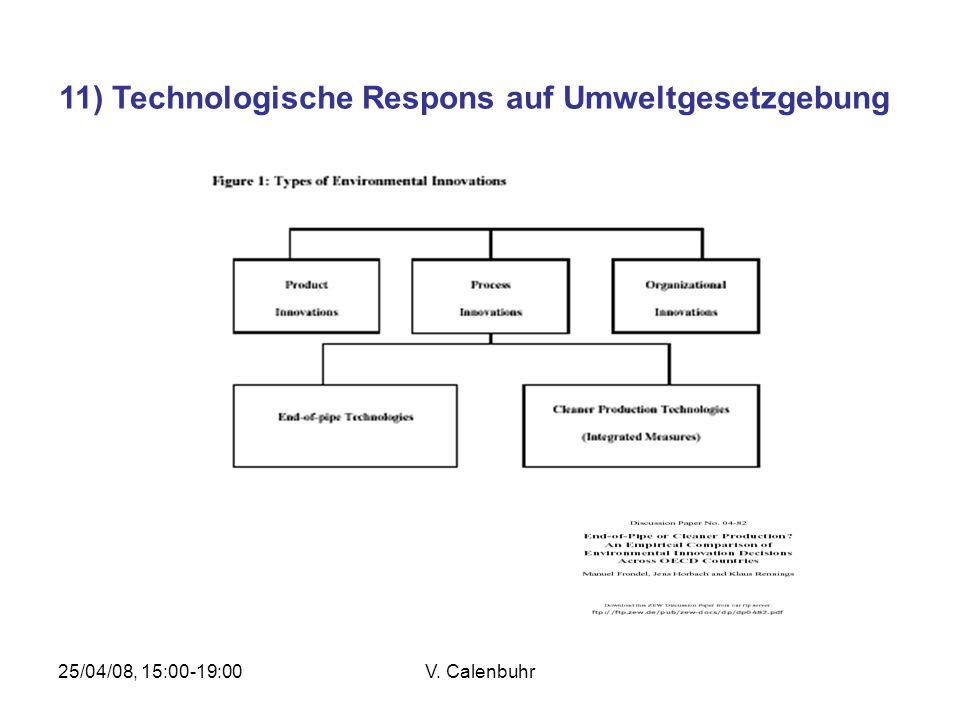 25/04/08, 15:00-19:00V. Calenbuhr 11) Technologische Respons auf Umweltgesetzgebung