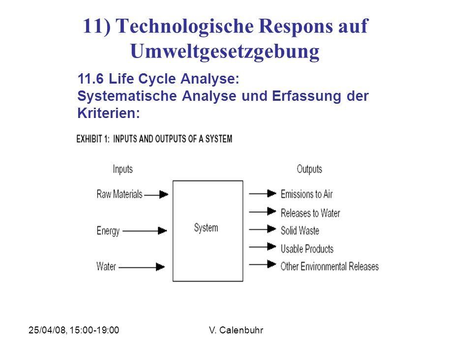 25/04/08, 15:00-19:00V. Calenbuhr 11) Technologische Respons auf Umweltgesetzgebung 11.6 Life Cycle Analyse: Systematische Analyse und Erfassung der K