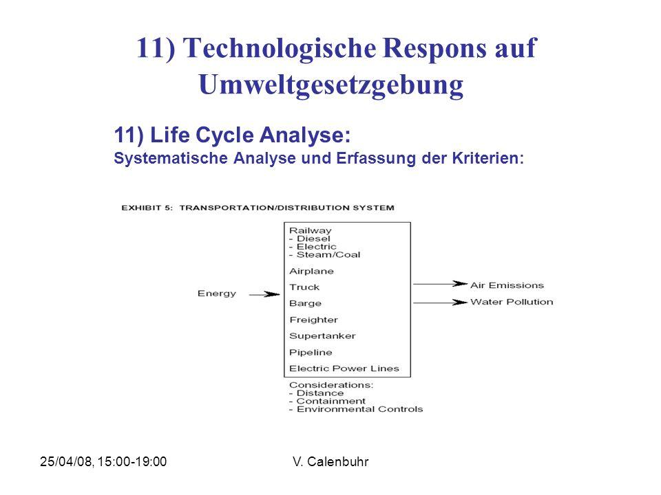 25/04/08, 15:00-19:00V. Calenbuhr 11) Technologische Respons auf Umweltgesetzgebung 11) Life Cycle Analyse: Systematische Analyse und Erfassung der Kr