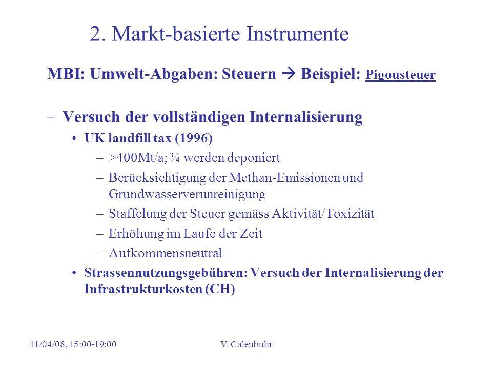 11/04/08, 15:00-19:00V. Calenbuhr 2. Markt-basierte Instrumente MBI: Umwelt-Abgaben: Steuern Beispiel: Pigousteuer –Versuch der vollständigen Internal