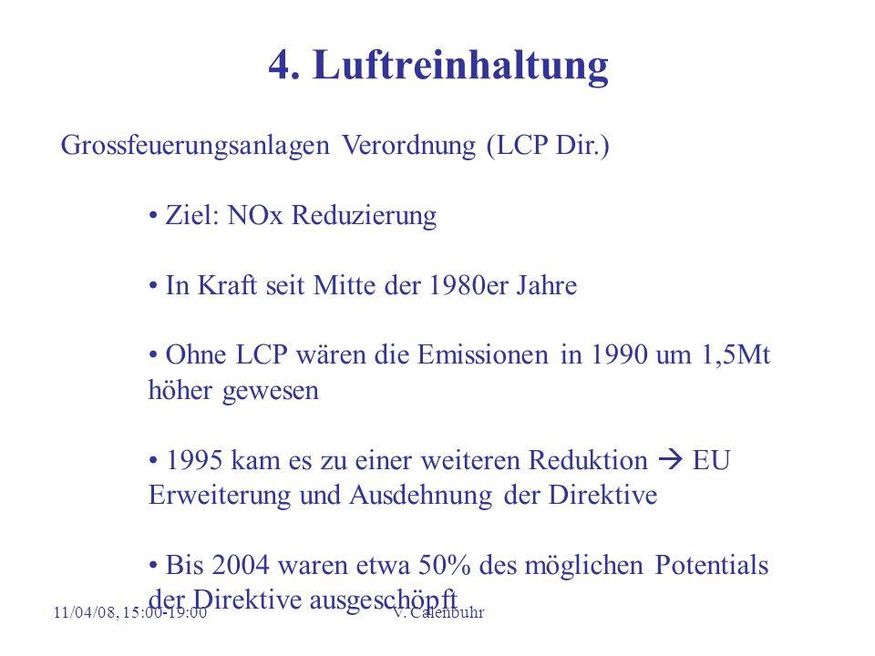 11/04/08, 15:00-19:00V. Calenbuhr 4. Luftreinhaltung Grossfeuerungsanlagen Verordnung (LCP Dir.) Ziel: NOx Reduzierung In Kraft seit Mitte der 1980er