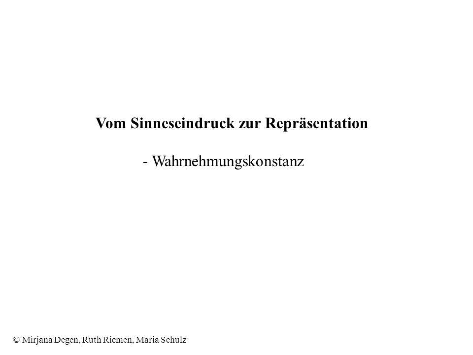 © Mirjana Degen, Ruth Riemen, Maria Schulz Vom Sinneseindruck zur Repräsentation - Wahrnehmungskonstanz