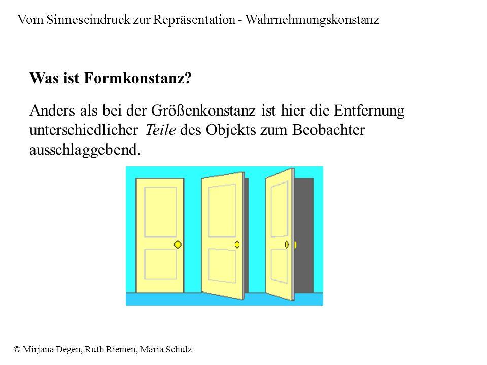 © Mirjana Degen, Ruth Riemen, Maria Schulz Vom Sinneseindruck zur Repräsentation - Wahrnehmungskonstanz Was ist Formkonstanz.