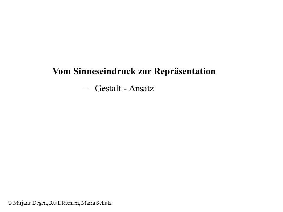 © Mirjana Degen, Ruth Riemen, Maria Schulz Vom Sinneseindruck zur Repräsentation – Gestalt - Ansatz