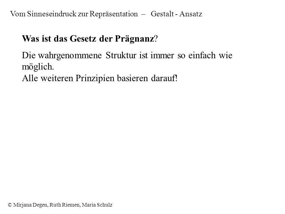 © Mirjana Degen, Ruth Riemen, Maria Schulz Was ist das Gesetz der Prägnanz.