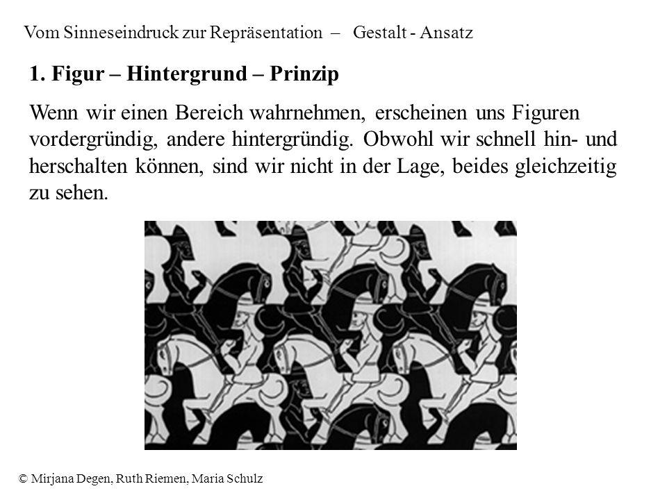 © Mirjana Degen, Ruth Riemen, Maria Schulz Wenn wir einen Bereich wahrnehmen, erscheinen uns Figuren vordergründig, andere hintergründig.