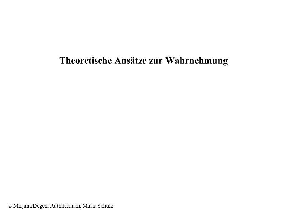 © Mirjana Degen, Ruth Riemen, Maria Schulz Theoretische Ansätze zur Wahrnehmung