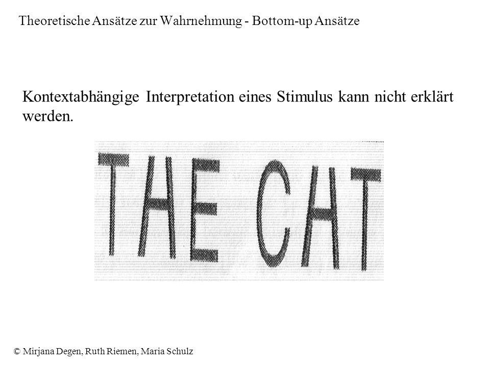 © Mirjana Degen, Ruth Riemen, Maria Schulz Kontextabhängige Interpretation eines Stimulus kann nicht erklärt werden.