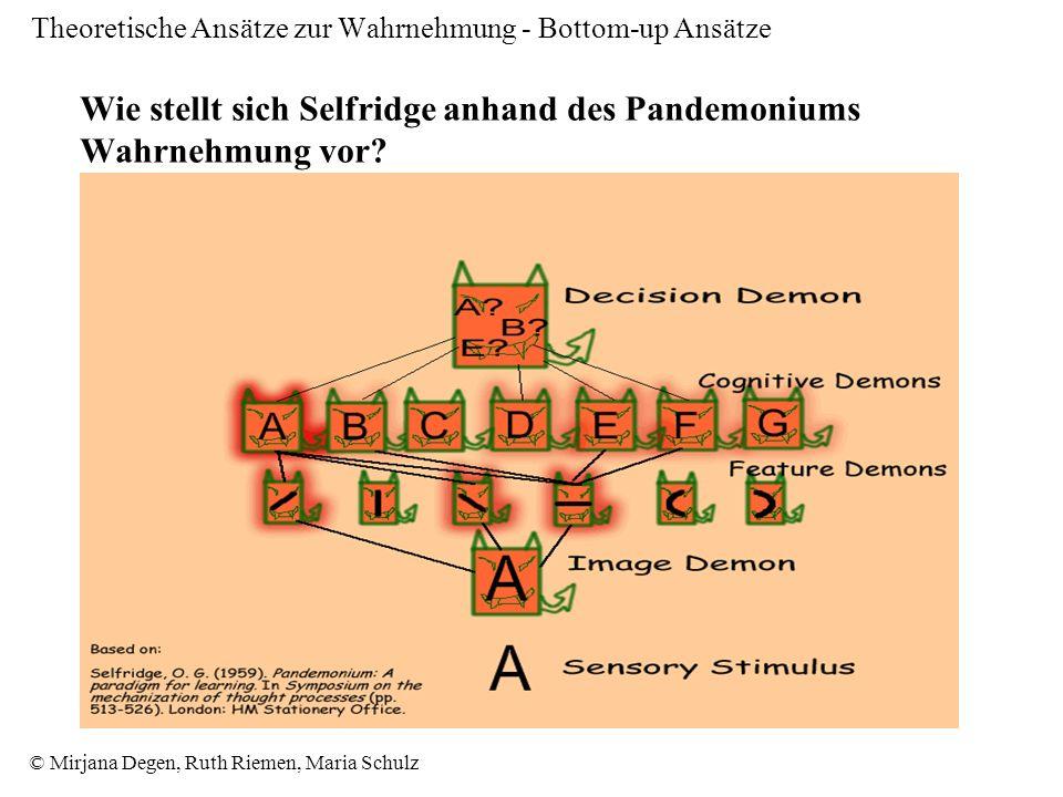 © Mirjana Degen, Ruth Riemen, Maria Schulz Theoretische Ansätze zur Wahrnehmung - Bottom-up Ansätze Wie stellt sich Selfridge anhand des Pandemoniums Wahrnehmung vor?