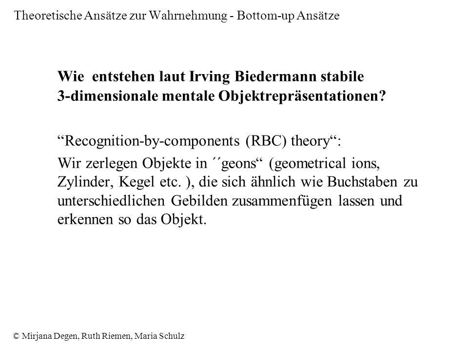 © Mirjana Degen, Ruth Riemen, Maria Schulz Theoretische Ansätze zur Wahrnehmung - Bottom-up Ansätze Wie entstehen laut Irving Biedermann stabile 3-dimensionale mentale Objektrepräsentationen.