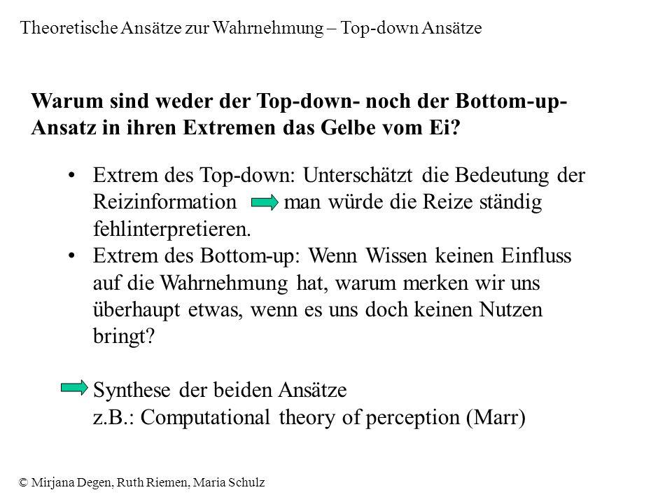 © Mirjana Degen, Ruth Riemen, Maria Schulz Warum sind weder der Top-down- noch der Bottom-up- Ansatz in ihren Extremen das Gelbe vom Ei.