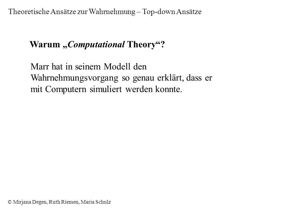 © Mirjana Degen, Ruth Riemen, Maria Schulz Warum Computational Theory.