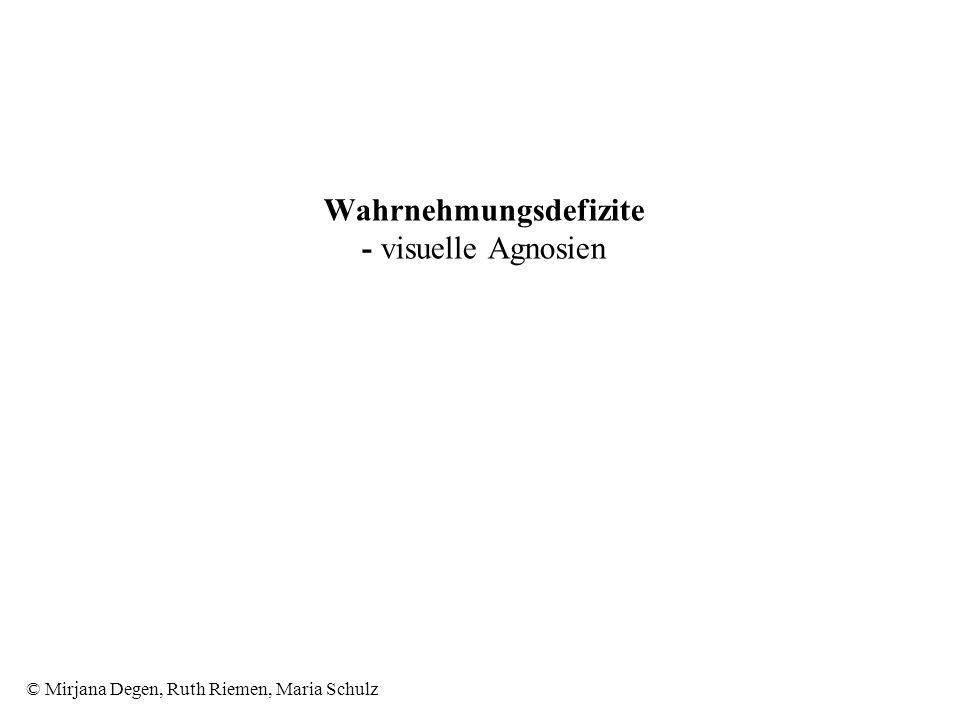 © Mirjana Degen, Ruth Riemen, Maria Schulz Wahrnehmungsdefizite - visuelle Agnosien