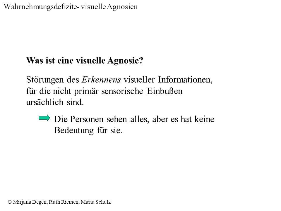 © Mirjana Degen, Ruth Riemen, Maria Schulz Wahrnehmungsdefizite- visuelle Agnosien Was ist eine visuelle Agnosie.