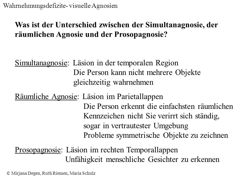© Mirjana Degen, Ruth Riemen, Maria Schulz Was ist der Unterschied zwischen der Simultanagnosie, der räumlichen Agnosie und der Prosopagnosie.