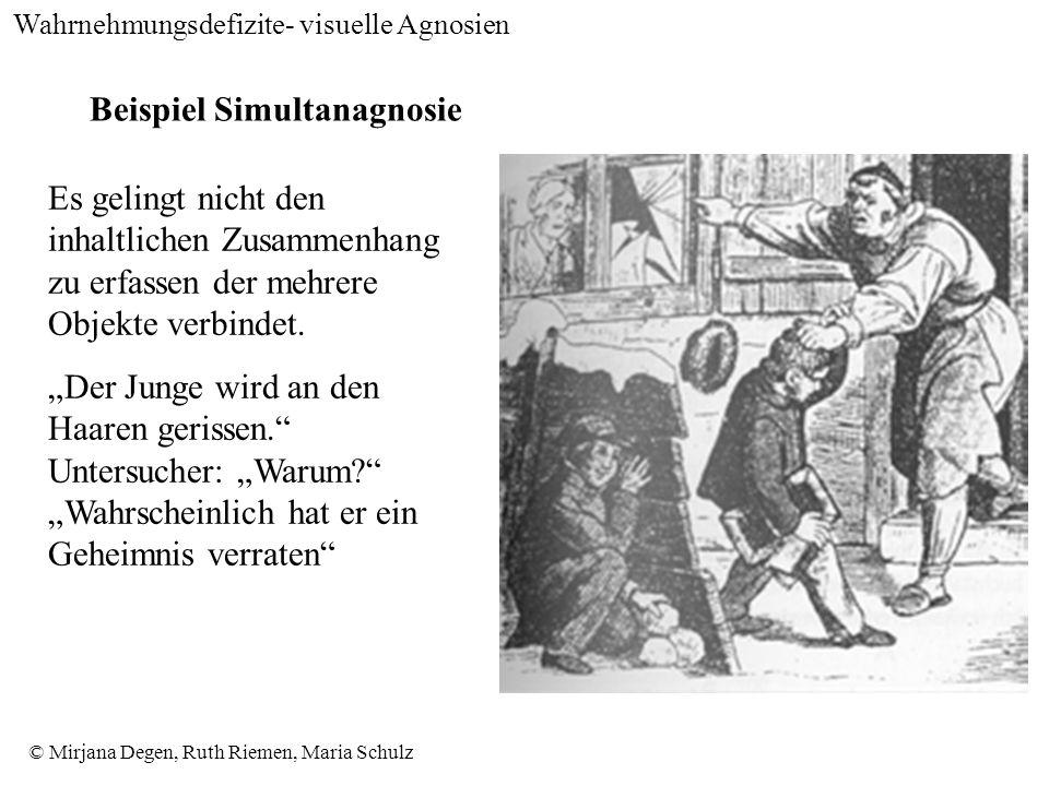 © Mirjana Degen, Ruth Riemen, Maria Schulz Beispiel Simultanagnosie Es gelingt nicht den inhaltlichen Zusammenhang zu erfassen der mehrere Objekte verbindet.