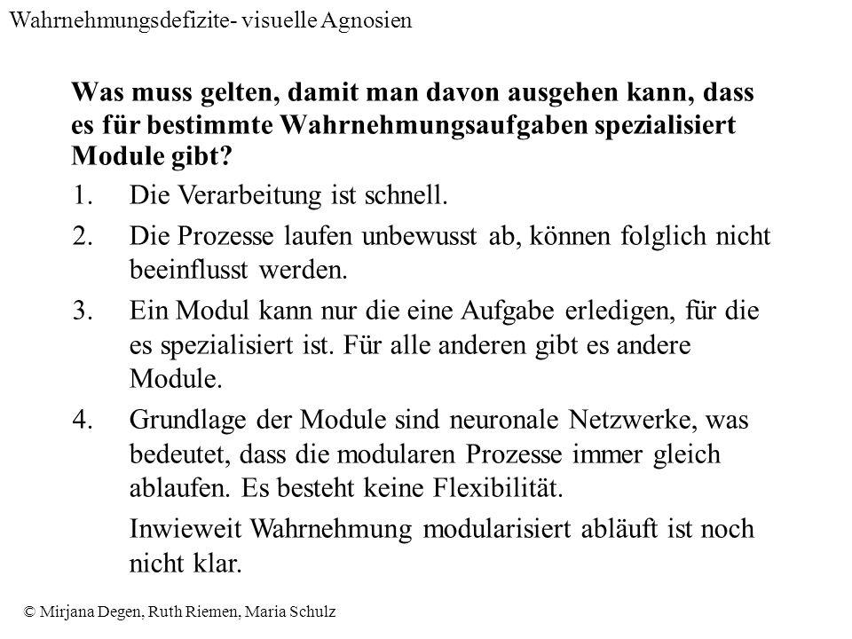 © Mirjana Degen, Ruth Riemen, Maria Schulz Was muss gelten, damit man davon ausgehen kann, dass es für bestimmte Wahrnehmungsaufgaben spezialisiert Module gibt.