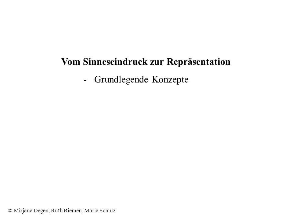 © Mirjana Degen, Ruth Riemen, Maria Schulz Vom Sinneseindruck zur Repräsentation - Grundlegende Konzepte