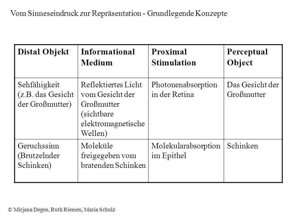 © Mirjana Degen, Ruth Riemen, Maria Schulz Vom Sinneseindruck zur Repräsentation - Grundlegende Konzepte Distal ObjektInformational Medium Proximal Stimulation Perceptual Object Sehfähigkeit (z.B.
