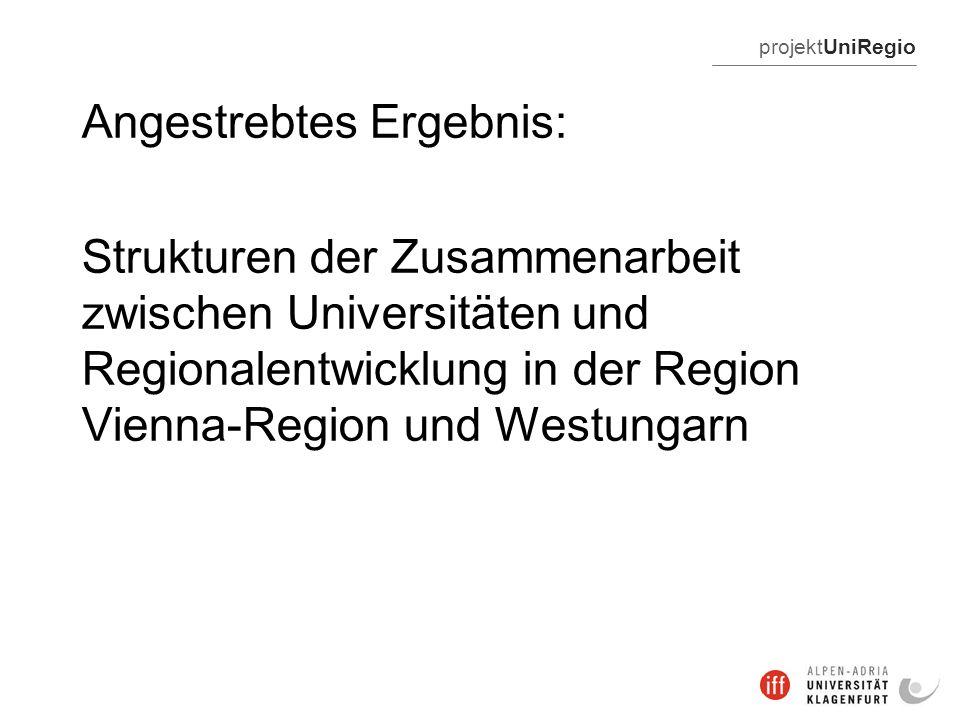 projektUniRegio Angestrebtes Ergebnis: Strukturen der Zusammenarbeit zwischen Universitäten und Regionalentwicklung in der Region Vienna-Region und Westungarn