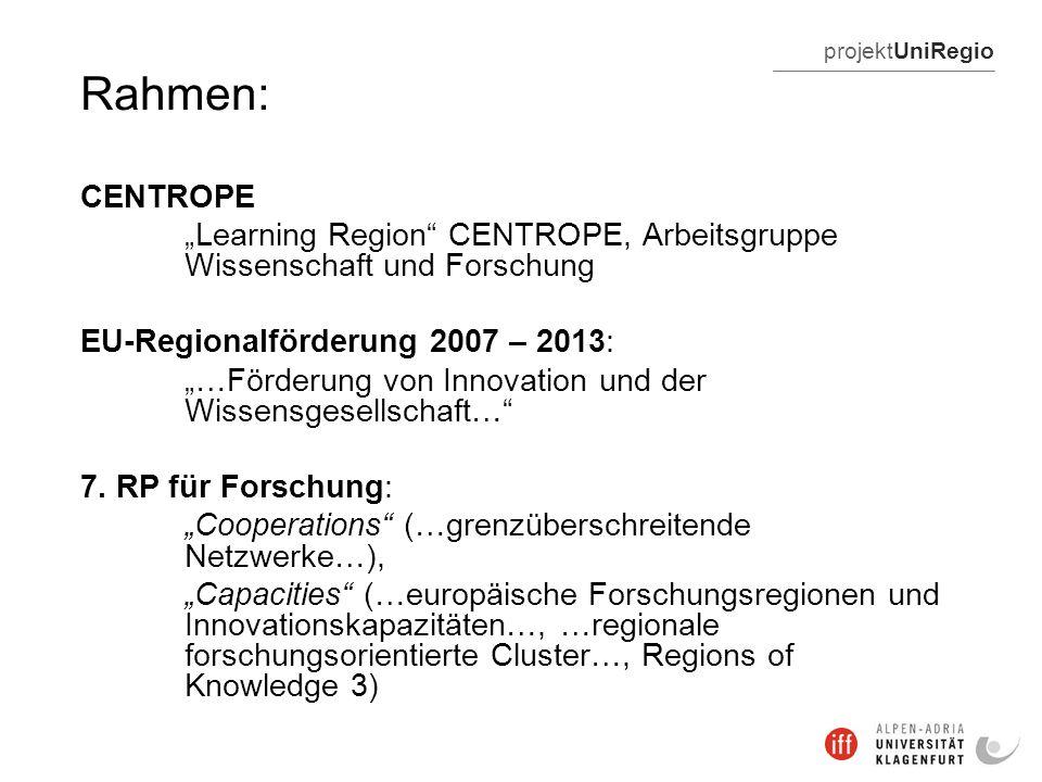 projektUniRegio Rahmen: CENTROPE Learning Region CENTROPE, Arbeitsgruppe Wissenschaft und Forschung EU-Regionalförderung 2007 – 2013: …Förderung von Innovation und der Wissensgesellschaft… 7.