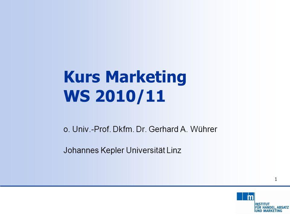 1 Kurs Marketing WS 2010/11 o. Univ.-Prof. Dkfm. Dr. Gerhard A. Wührer Johannes Kepler Universität Linz