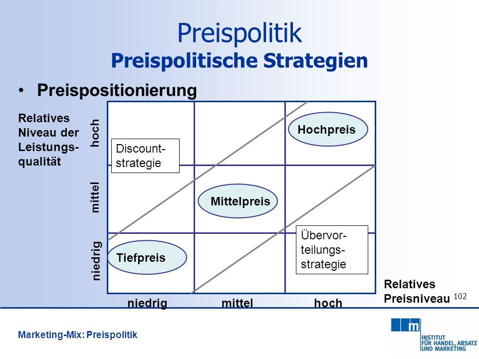 102 Preispolitik Preispolitische Strategien Preispositionierung Relatives Niveau der Leistungs- qualität Übervor- teilungs- strategie Discount- strate